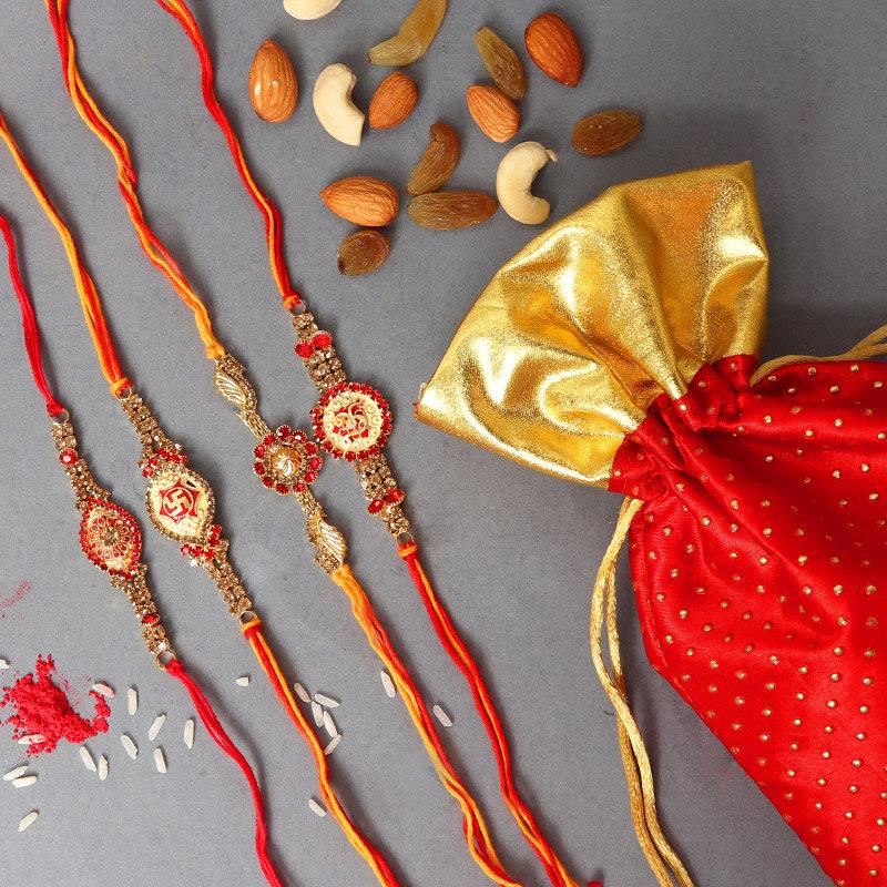Two Rakhis Set with 100 gram Mixed Fruits