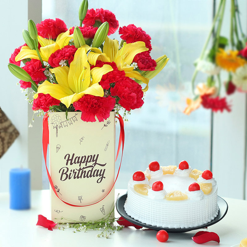 Carnations & Lilies Bunch in Birthday Flower Box with Pineapple Cake