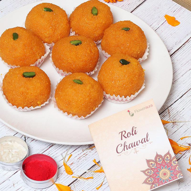 Sweet Celebrations - Half Kg Motichoor Ladoo with Roli Chawal