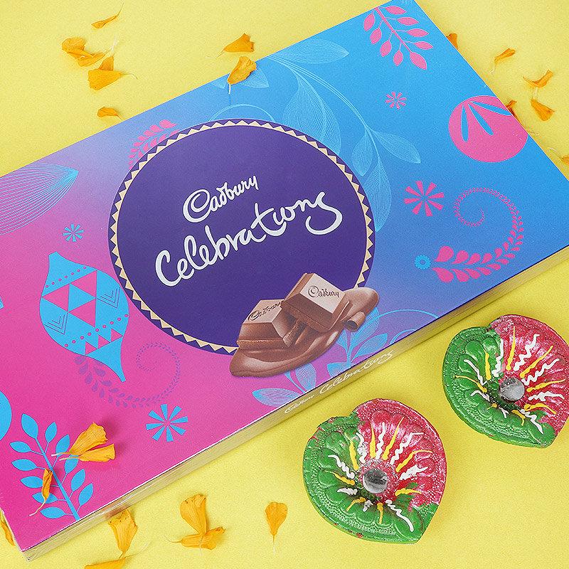 Diwali Chocolate Gift Box and Diyas