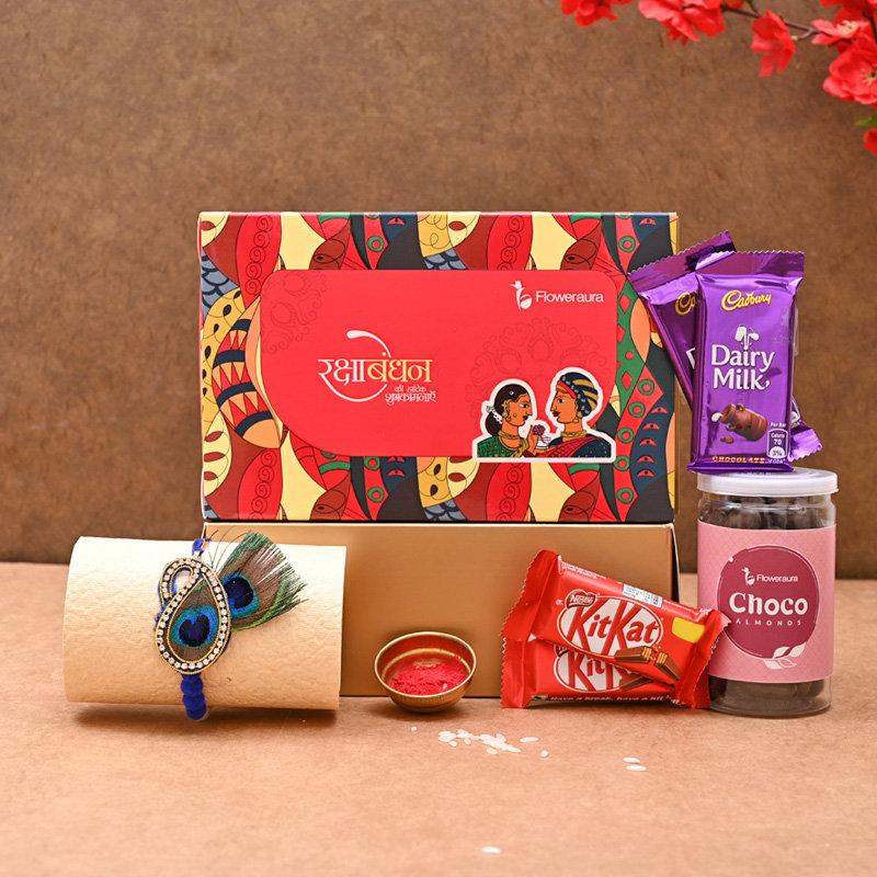 Sweet FA Rakhi Signature Box - One Peacock Designer Rakhi