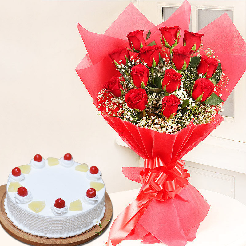 Sweet Love Combo - Bunch of 12 Red Roses with 1 Kg Pineapple Cake