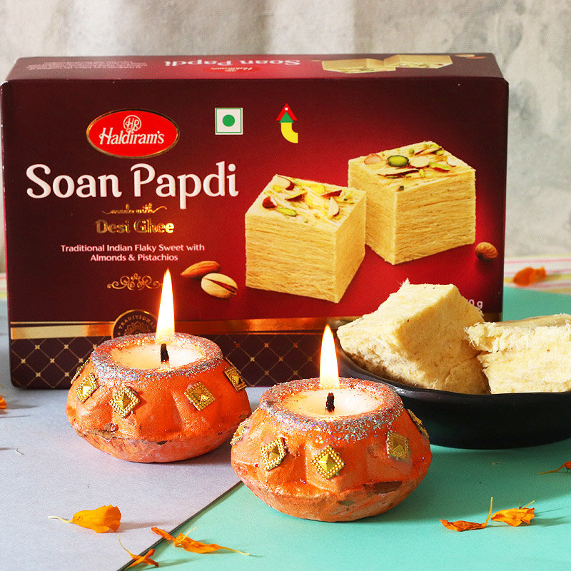 Sweet n Bright Combo - 500gm Soan Papdi with 2 Designer Diyas