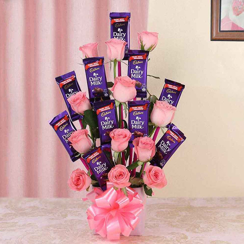 Dairy Milk and Flower Bouquet Combo