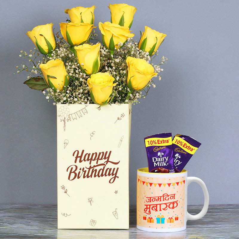 One Printed Ceramic Mugand Bunch of 10 Yellow Roses in a Flower Box with 2 Dairy Milk Chocolates