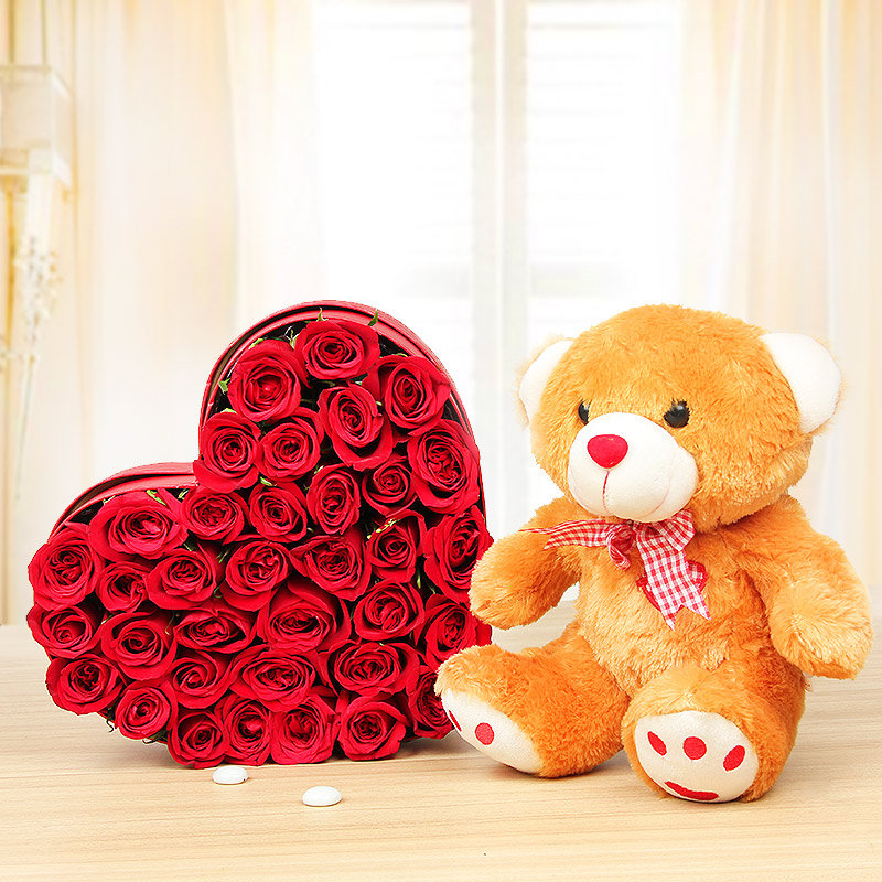Sweetheart Exuberance - Combo of Heart shaped 35 red roses arrangement and 12 inch teddy