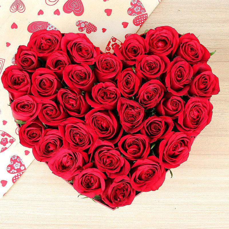 Heart shaped 35 red roses arrangement - Part of Sweetheart Exuberance