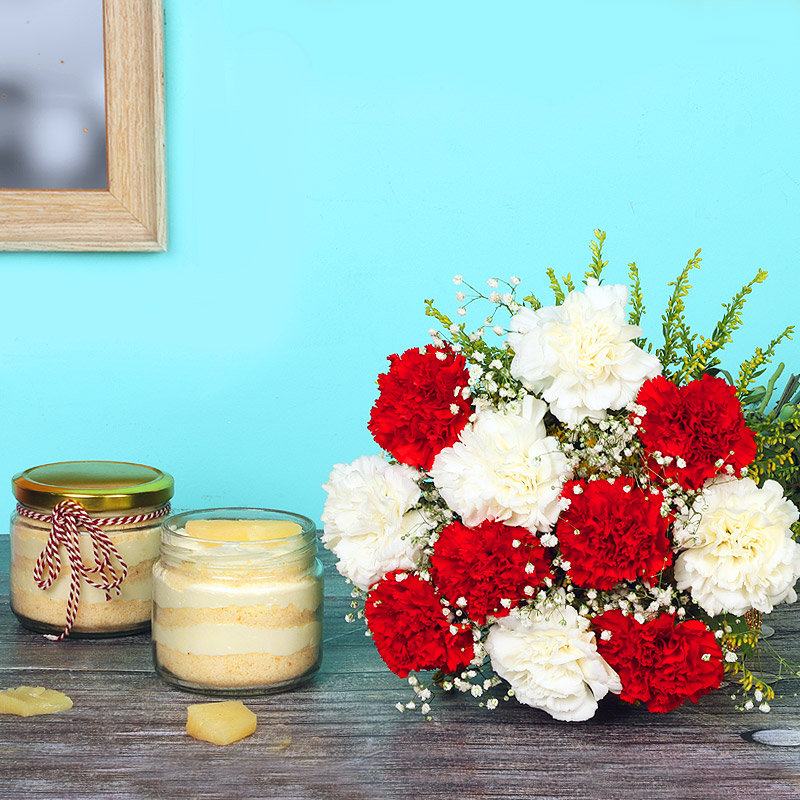 Sweetness Overloaded - Bunch of 12 Carnations with 2 Pineapple Jar Cakes