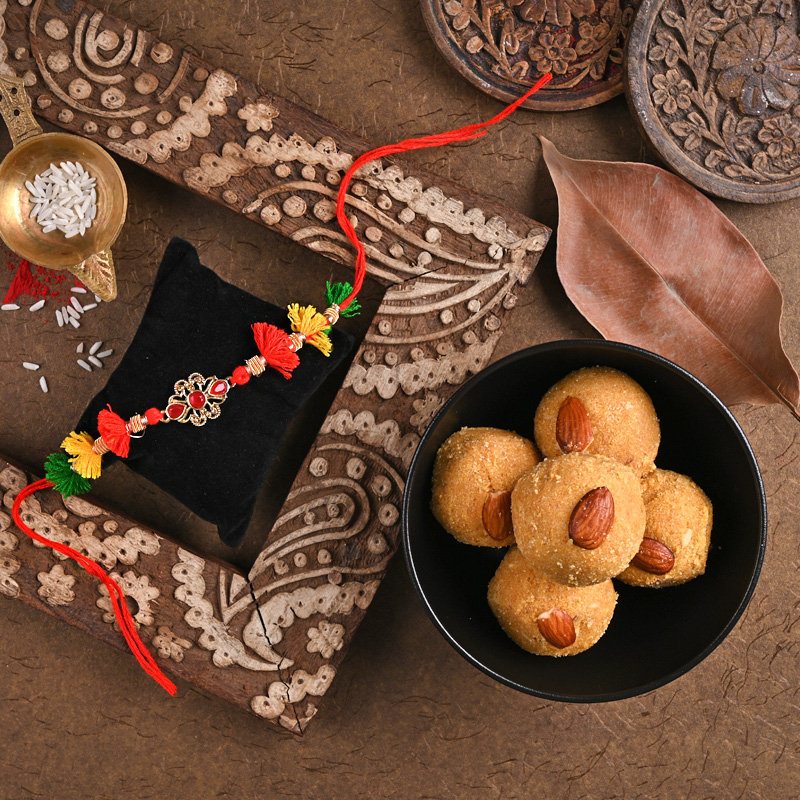 One Kundan Rakhi - Tassel Sweet Rakhi Combo