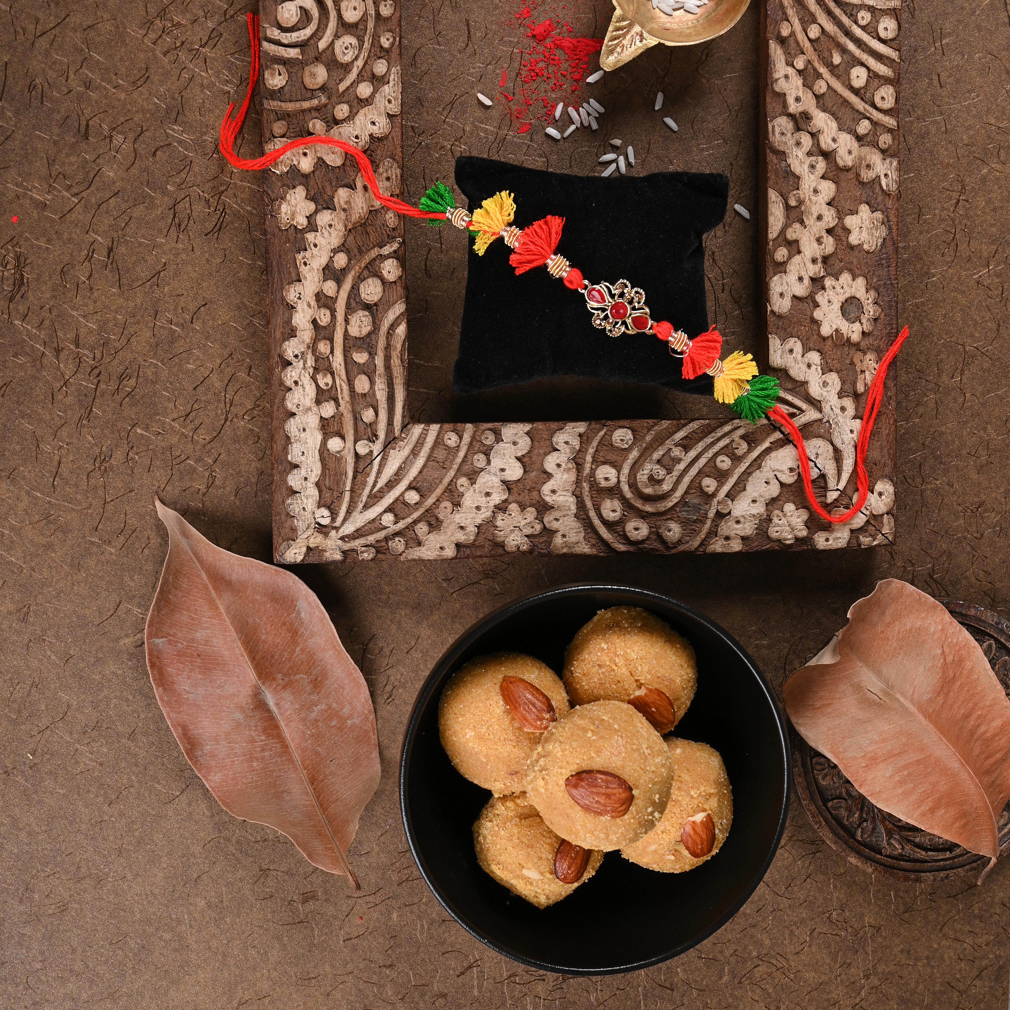 Tassel Sweet Rakhi Combo - One Kundan Rakhi