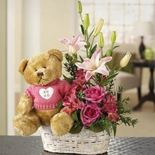 Teddy Bear N Bouquet