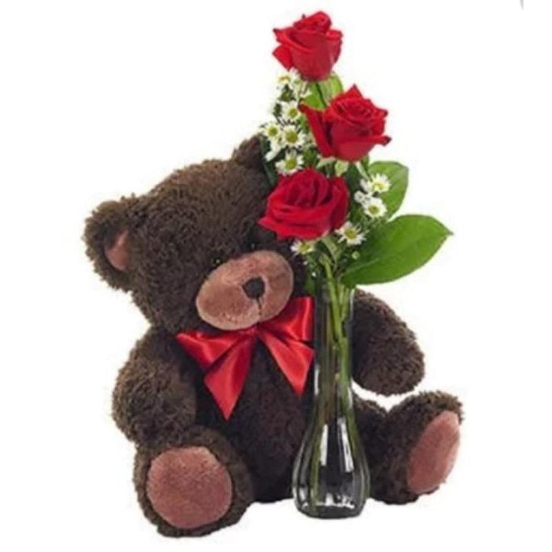 Teddy Bear N Rose Vase