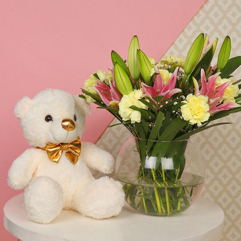 Teddy Lily Carnations Bunch