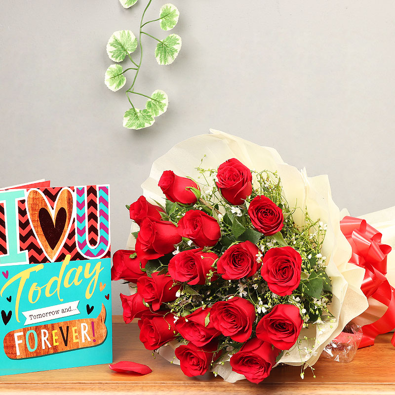 Eighteen Red Roses Bunch with a Card Combo