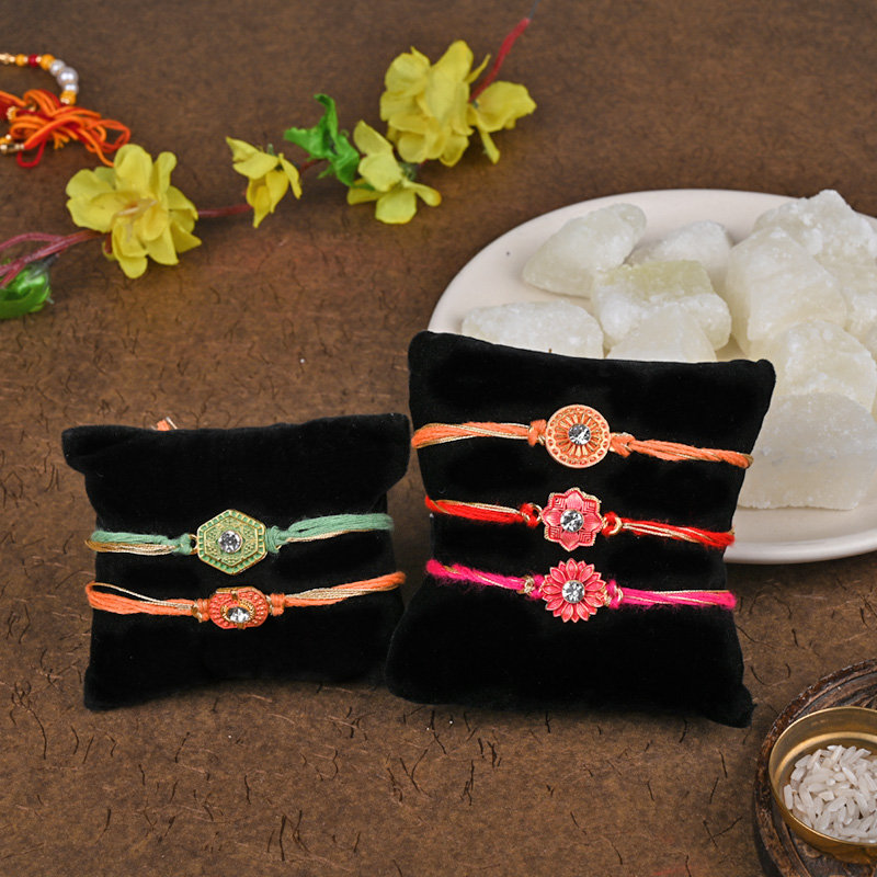 The Big Five Rakhi Set With Petha - Set of 5 Designer Rakhis