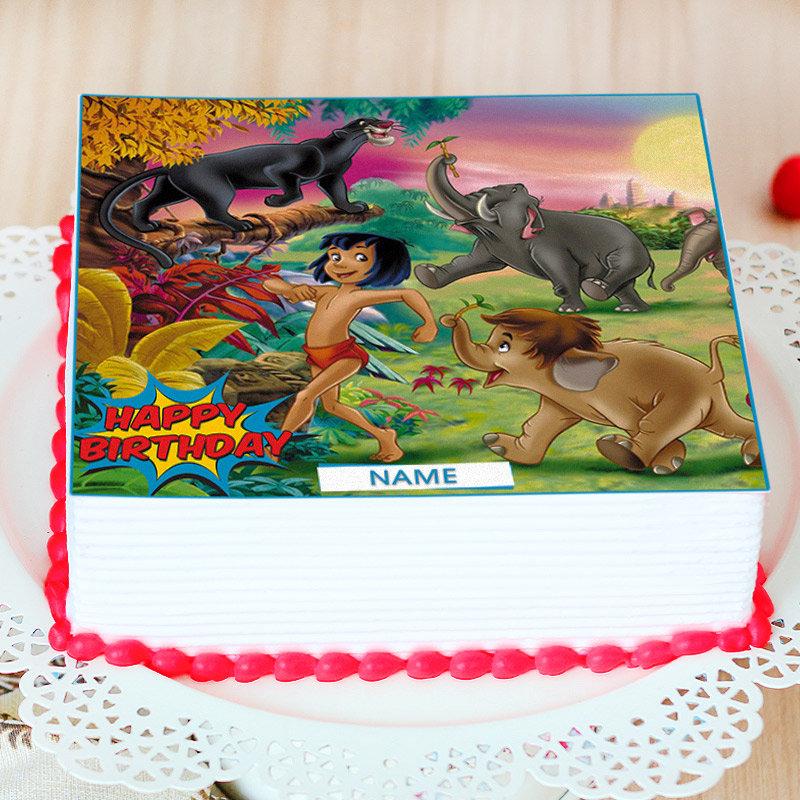 Jungle Book Birthday Photo Cake - Zoom View