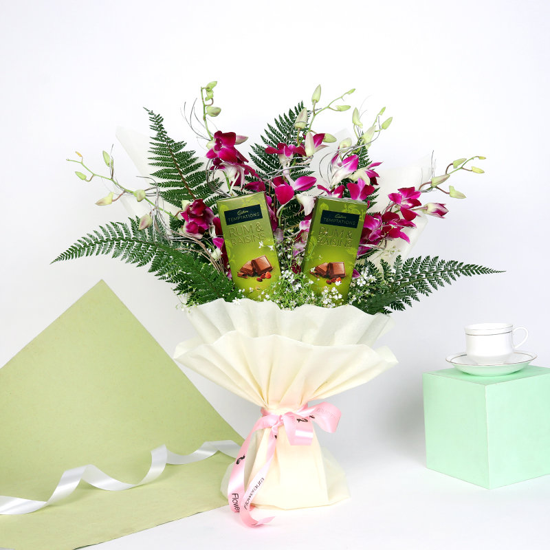 The Orchid Choc Bouquet: Bunch of 5 Purple Orchids in White Paper Packing