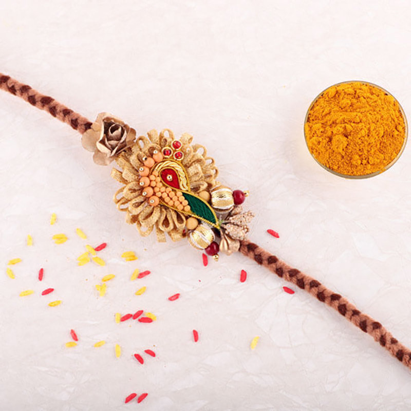 Thread Beads Work Rakhi
