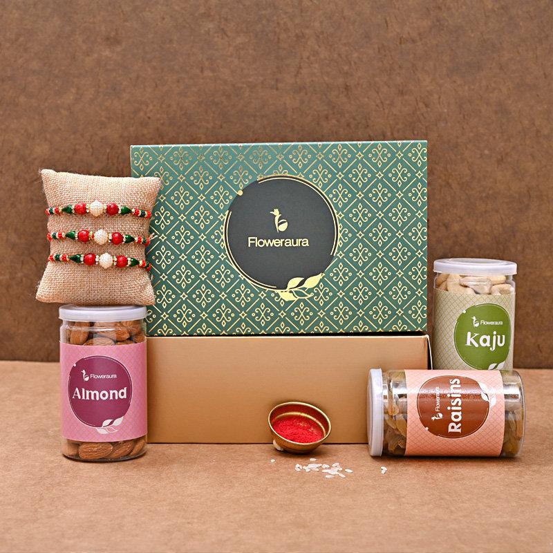 Three Designer FA Rakhi Box - Set of 3 Designer Rakhi