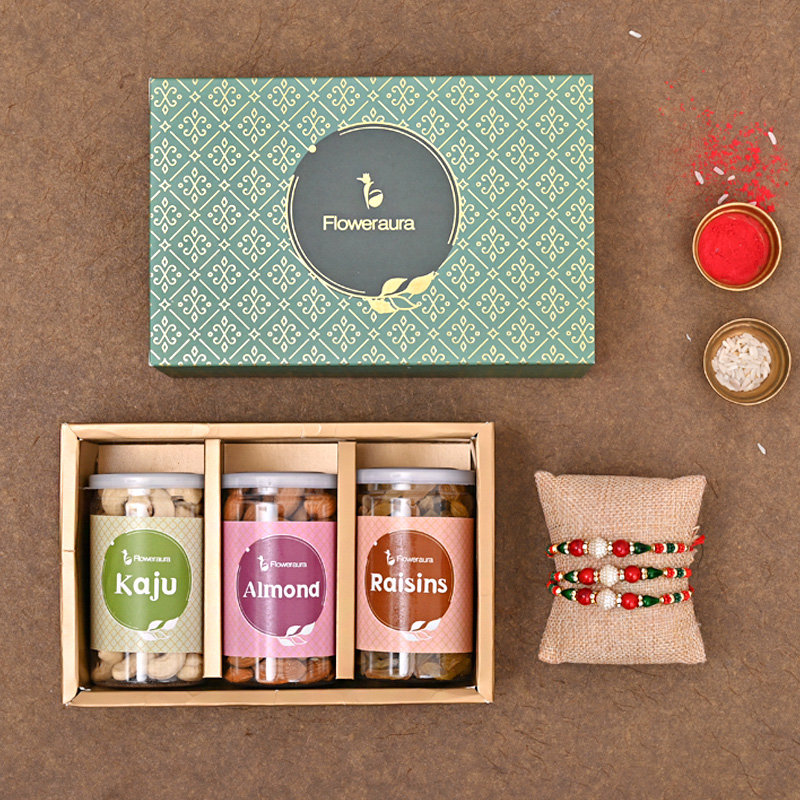 Set of 3 Designer Rakhi - Three Designer FA Rakhi Box