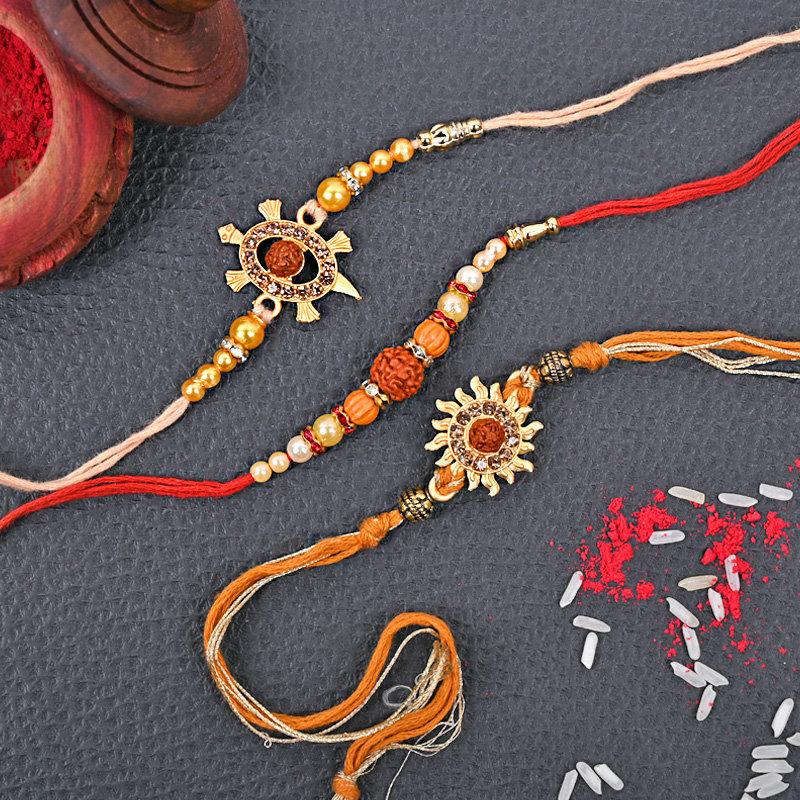 Three Designer Rakhi - Set of 3 Designer Rakhi