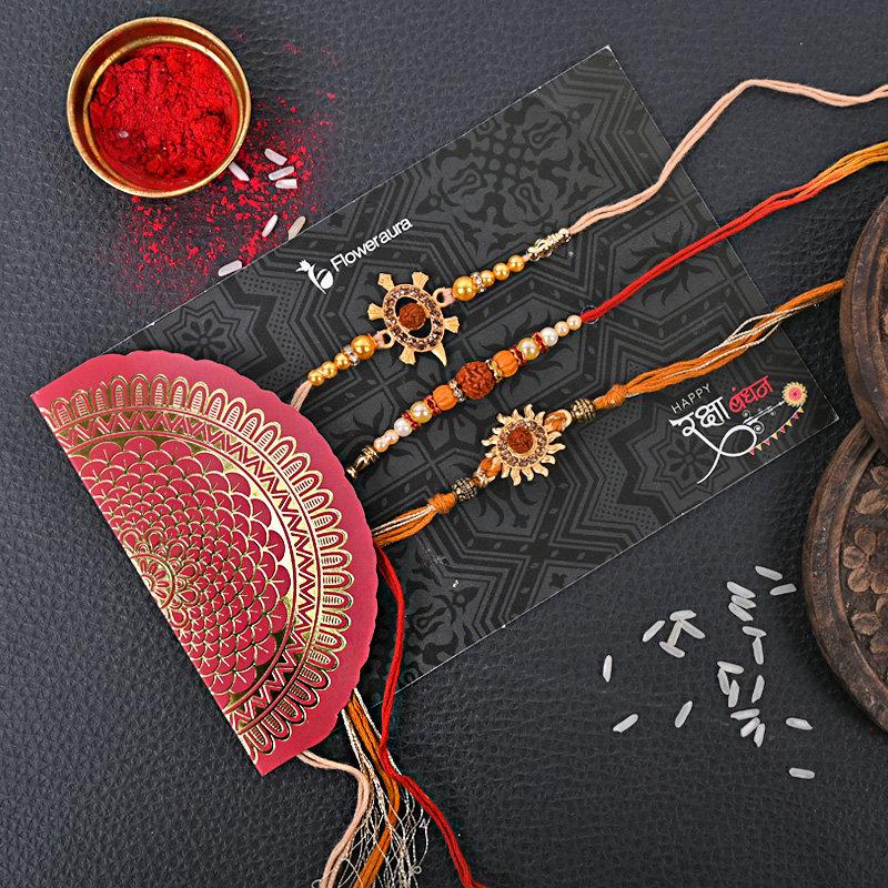 Online Set of 3 Designer Rakhi Delivery in India