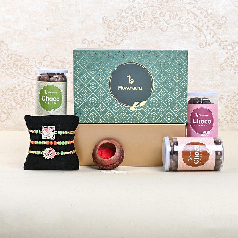 Three Designer Rakhi FA Box - Set of 3 Designer Rakhis