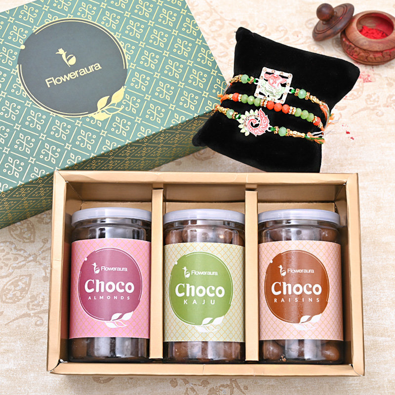 Set of 3 Designer Rakhis - Three Designer Rakhi FA Box