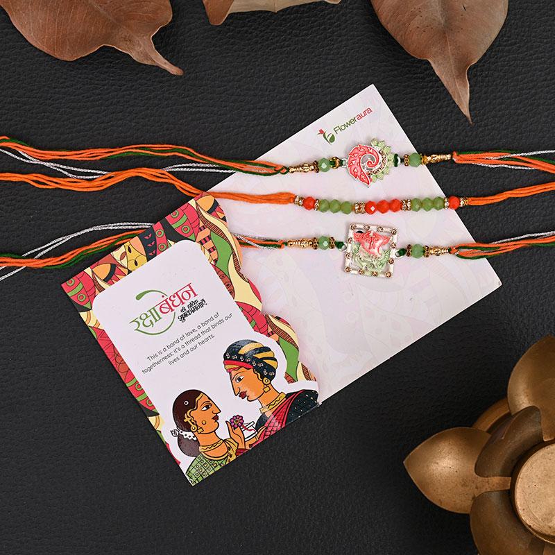Send Set of 3 Designer Rakhis Online