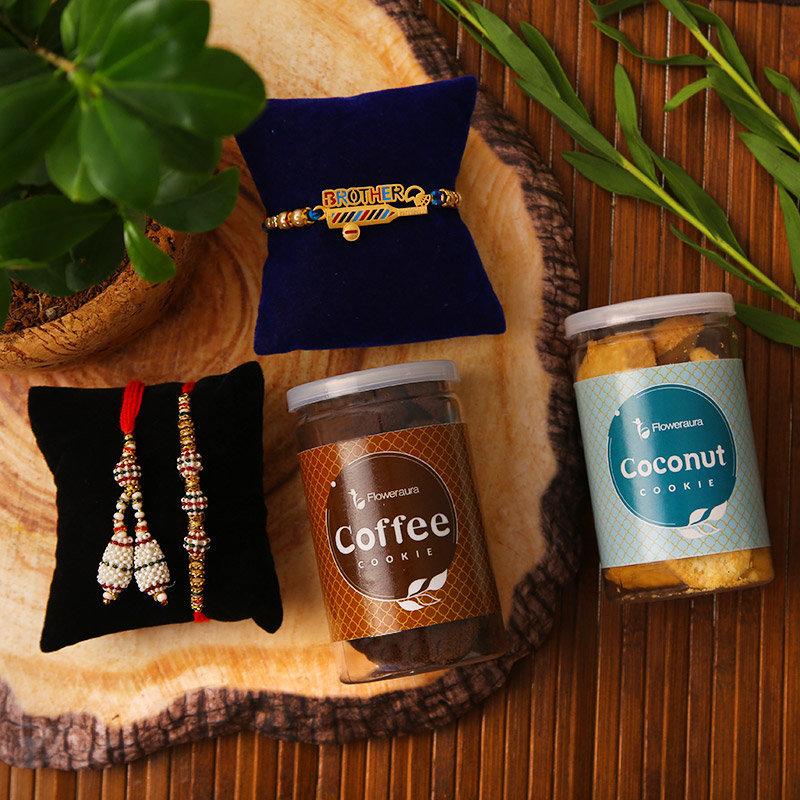 Bhaiya bhabhi Rakhi - Three Rakhis and Two Cookie Jars