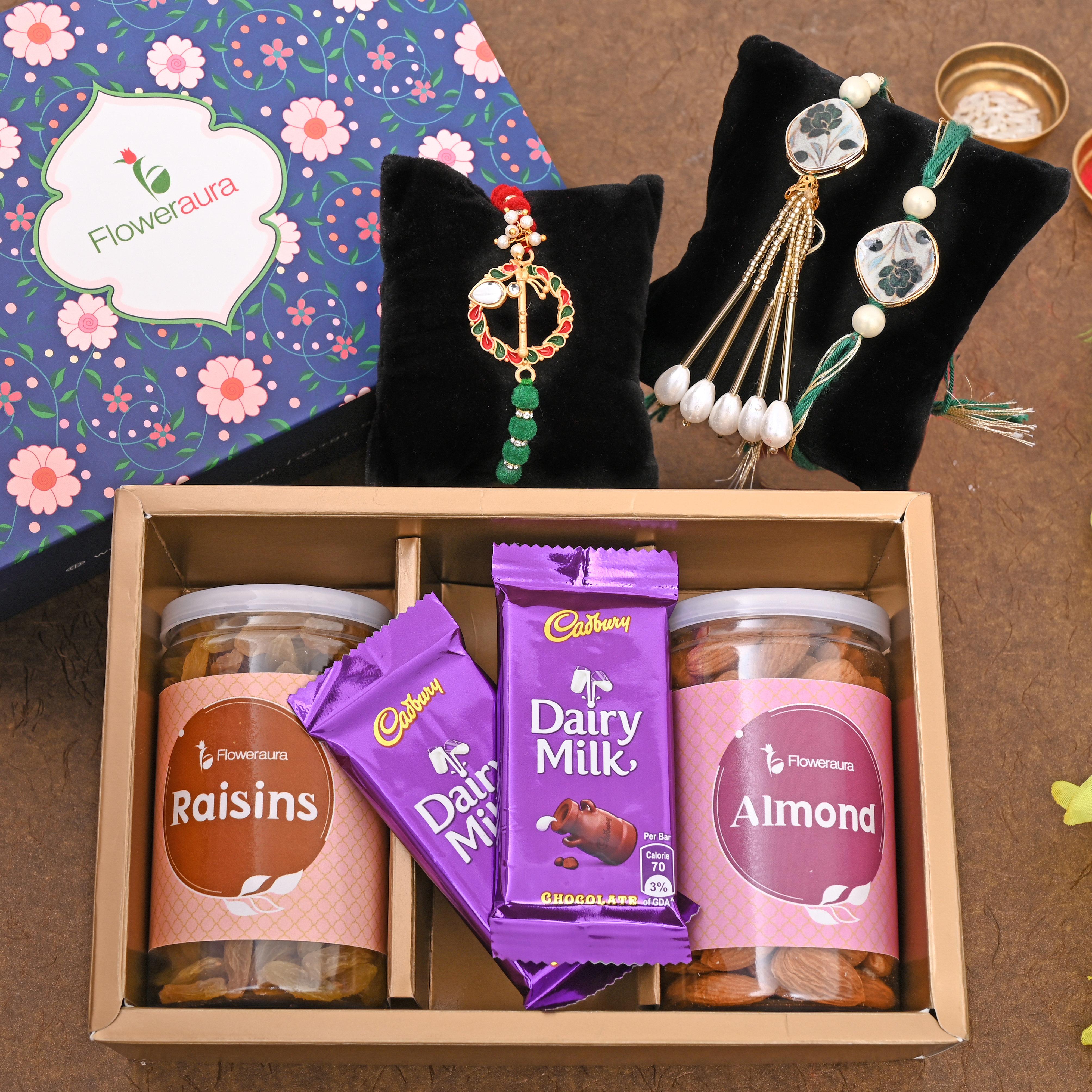One Designer Rakhi - Thrice Delight Rakhi Signature Box