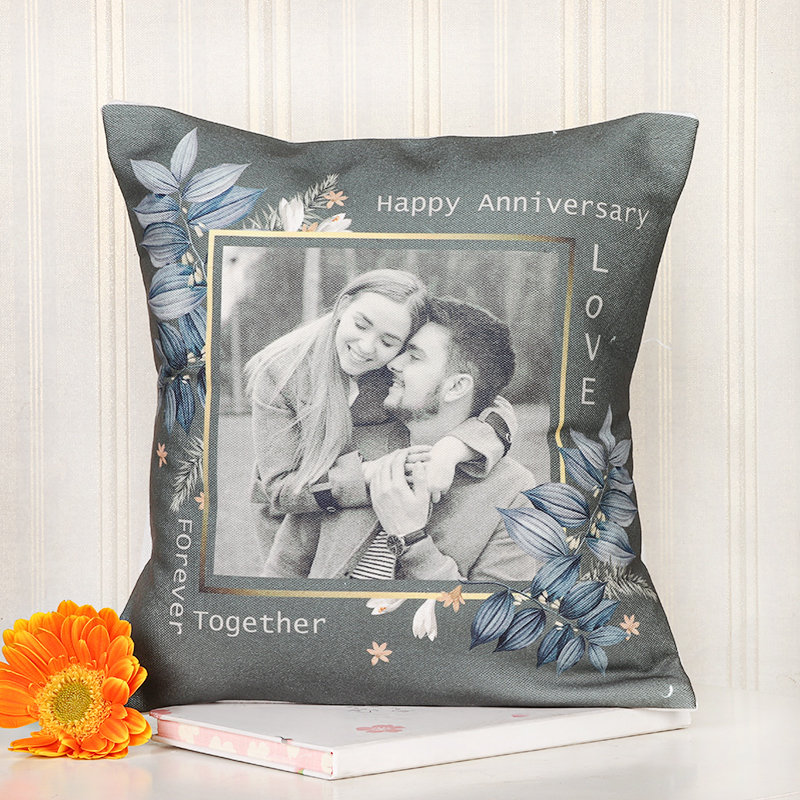 Together Forever Anniversary Cushion - 12x12 Personalised Inches Printed Cushion