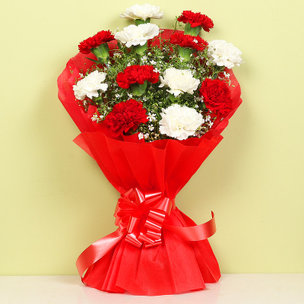 Together Forever Blooms - Bunch of 12 Red and White Carnations