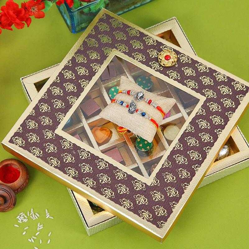 Toothsome Rakhi Hamper - Designer Rakhi, Handmade Chocolate With Box