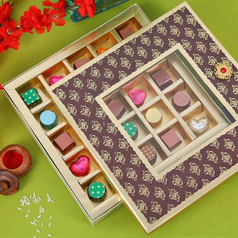 Designer Rakhi, Handmade Chocolate With Box - Toothsome Rakhi Hamper