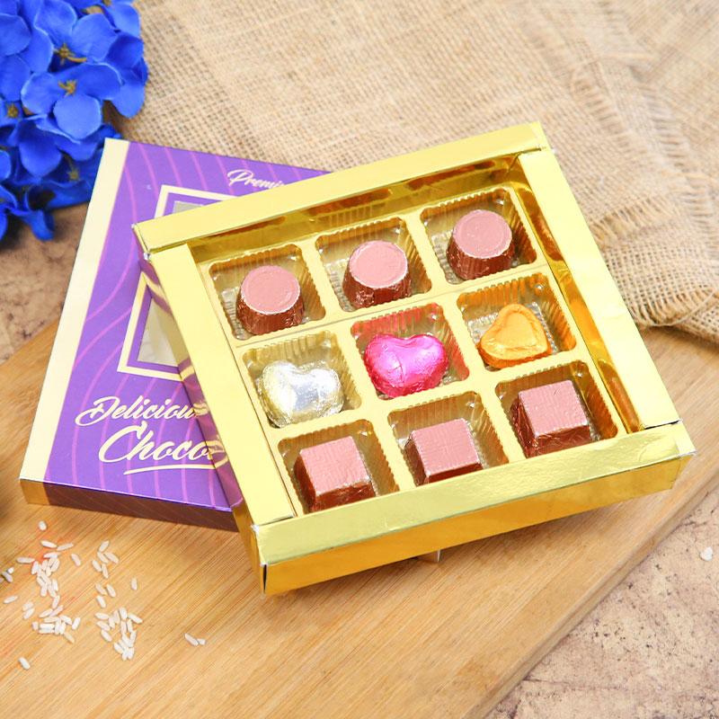 Bhaiya Bhabhi Rakhi and Handmade Chocolate - Traditional Rakhi & Handmade chocolates Combo