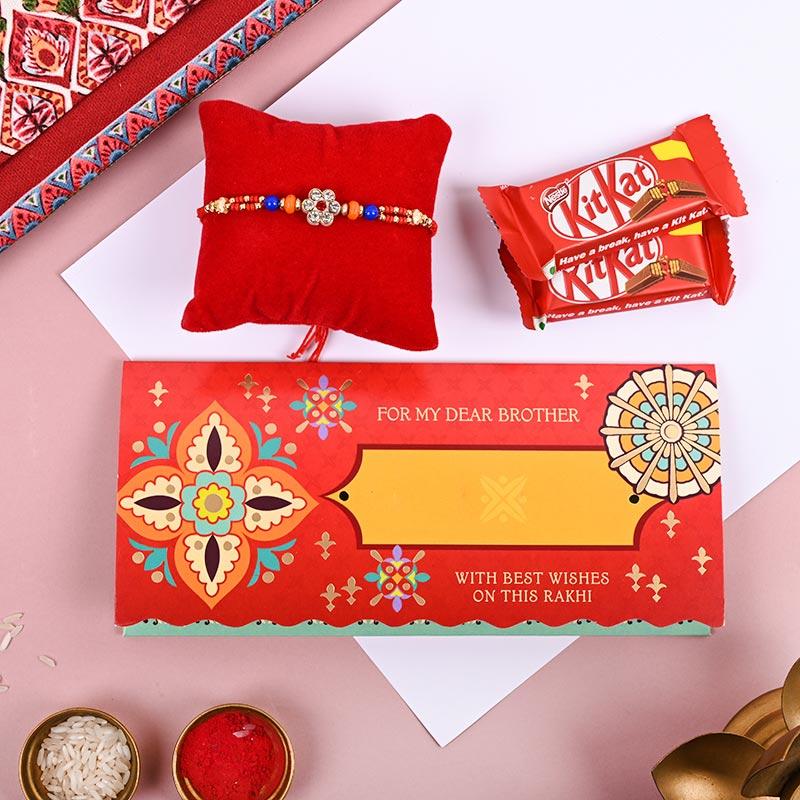 Traditional Rakhi Kit Kat & greeting card combo