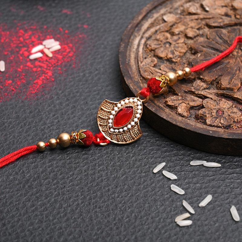 Traditional Red Metal Rakhi - One Designer Rakhi
