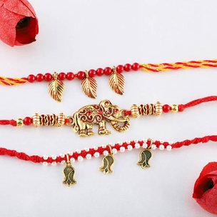 Traditional Triple Rakhi Set