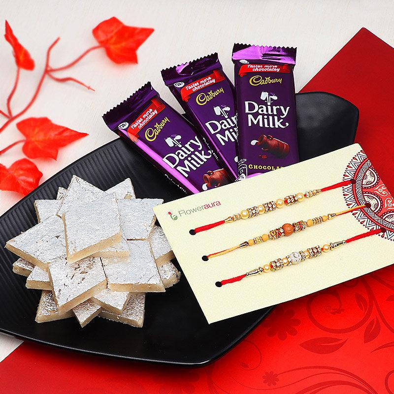 Set of Three Rakhis with Chocolates and Kaju Katli