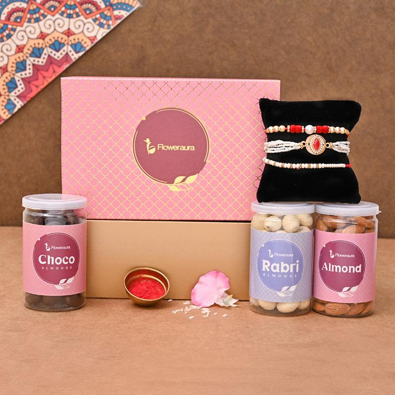 Trio designer Rakhi pack - Set of 3 Designer Rakhi