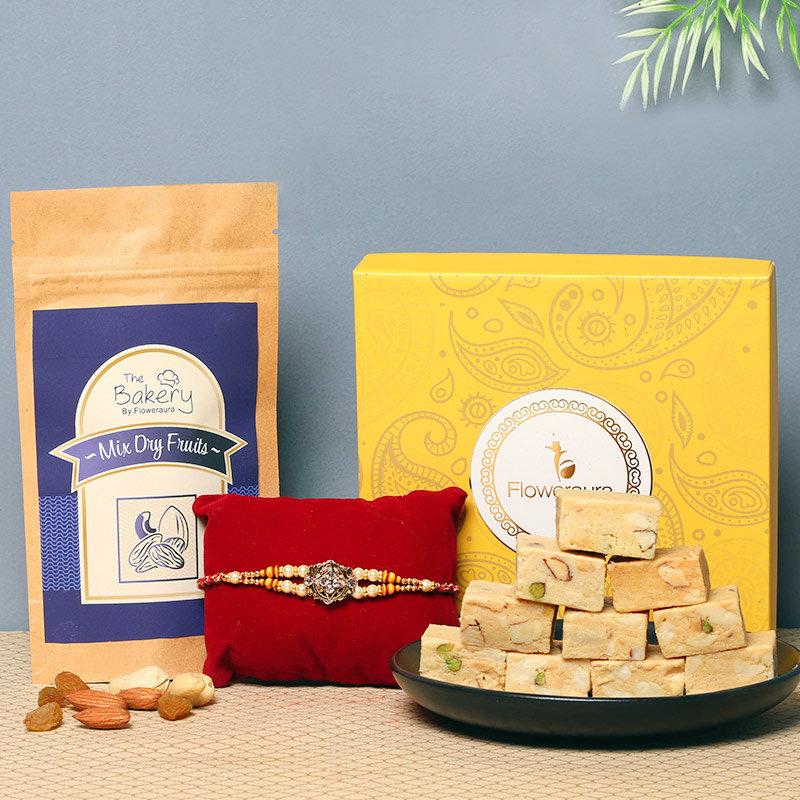 Triple Rakhi Sweet Box Contains One Designer Rakhi 250gm Mixed Mewa Bite in Floweraura Box 100g Mixed Fry Fruitst
