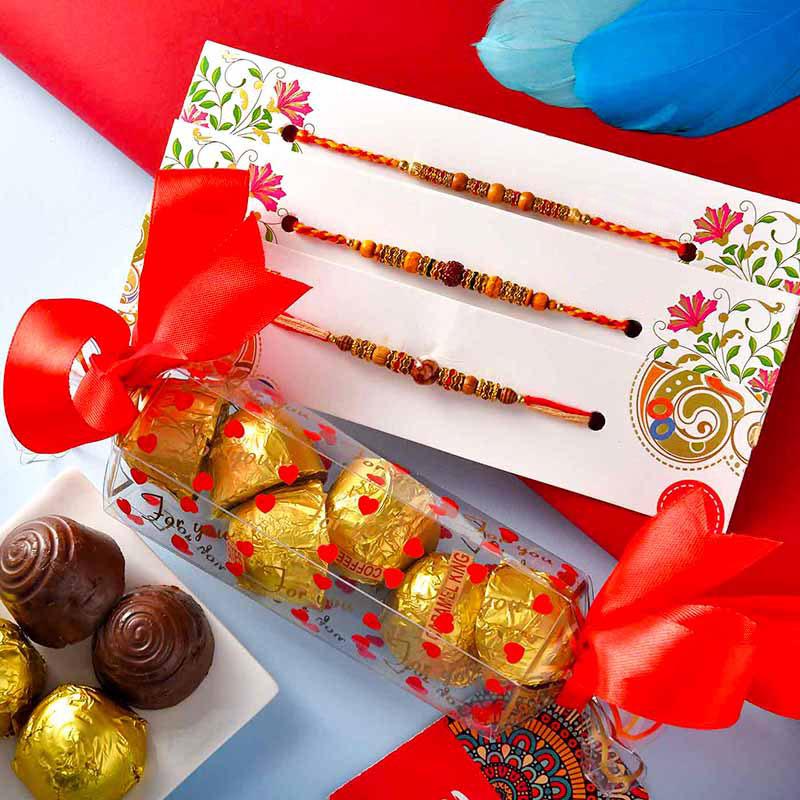 Triplet Rakhi With Chocolate Box