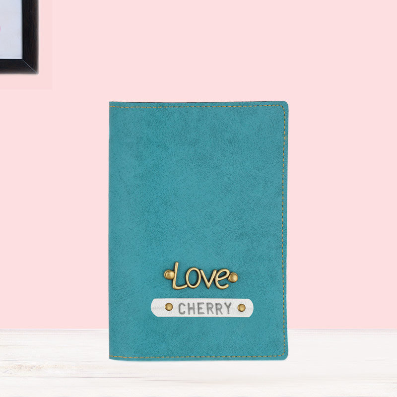 Customized Passport Cover in Turquoise Color