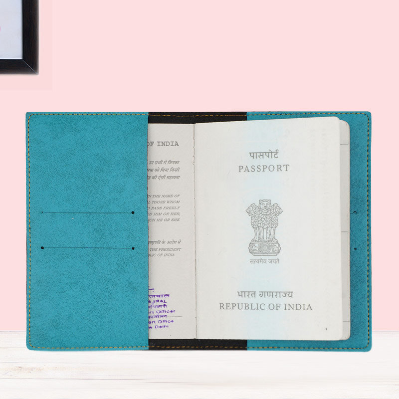 Inner Side of Customized Passport Cover in Turquoise Color