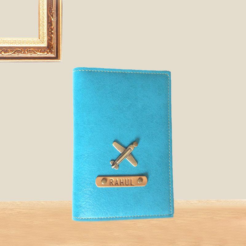 Pleasing Turquoise Personalized Passport Holder