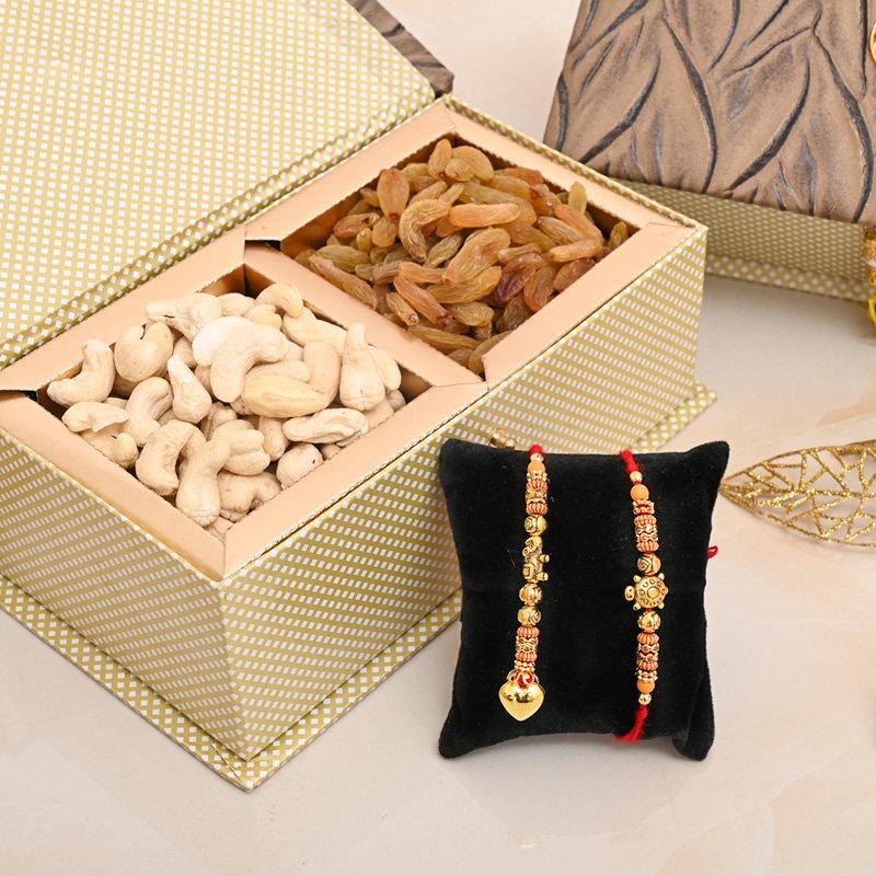 Two Rakhi Dry Fruit Box - Bhaiya bhabhi Rakhi Premium Box