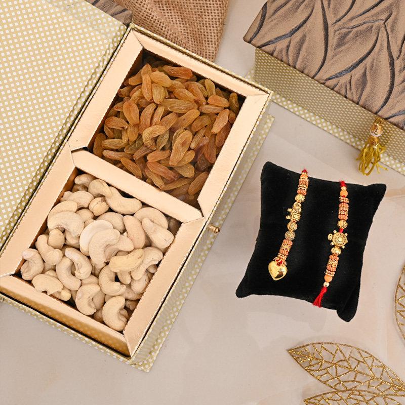 Bhaiya bhabhi Rakhi Premium Box - Two Rakhi Dry Fruit Box