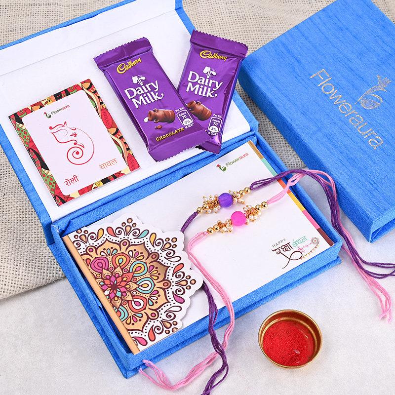 Two Rakhi Premium Box - 2 Designer Rakhi With Floweraura Box