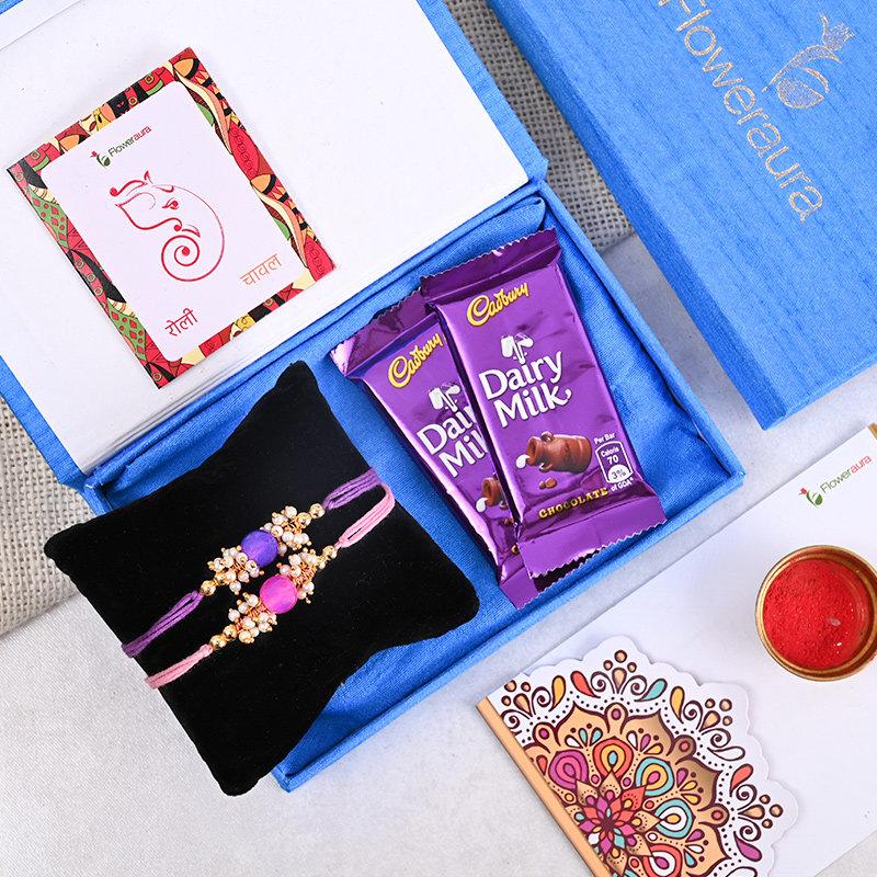 2 Designer Rakhi With Floweraura Box - Two Rakhi Premium Box